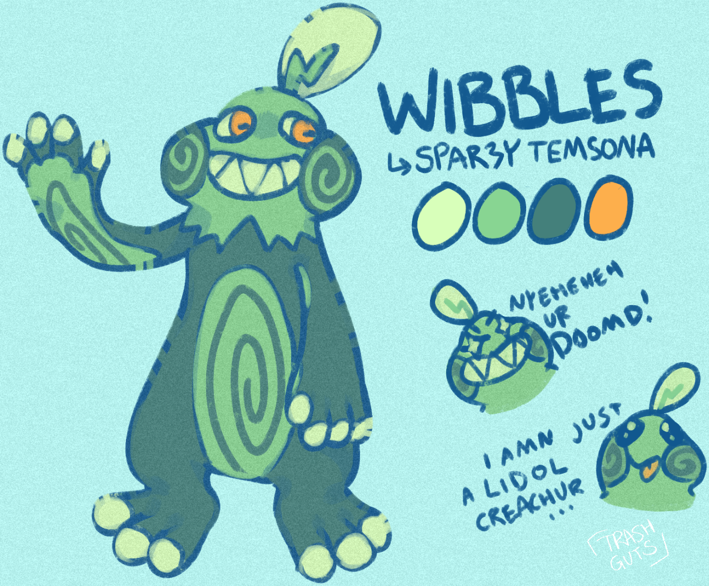 refsheet of a sparzy (a type of temtem) that is designed to resemble a frog