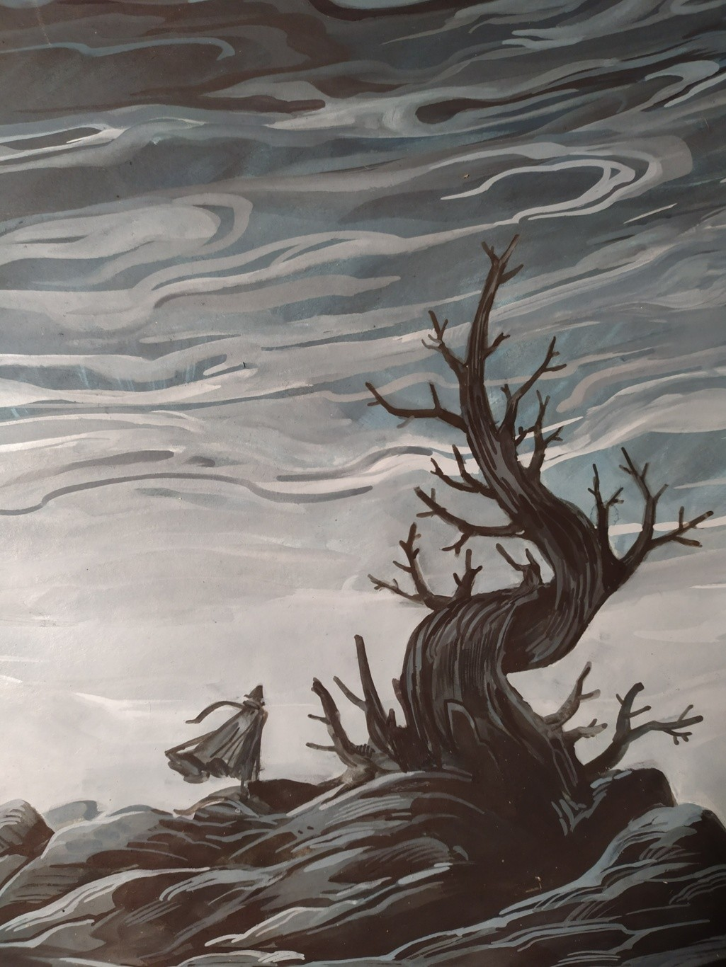 Peinture de perso au pied d'un arbre mort