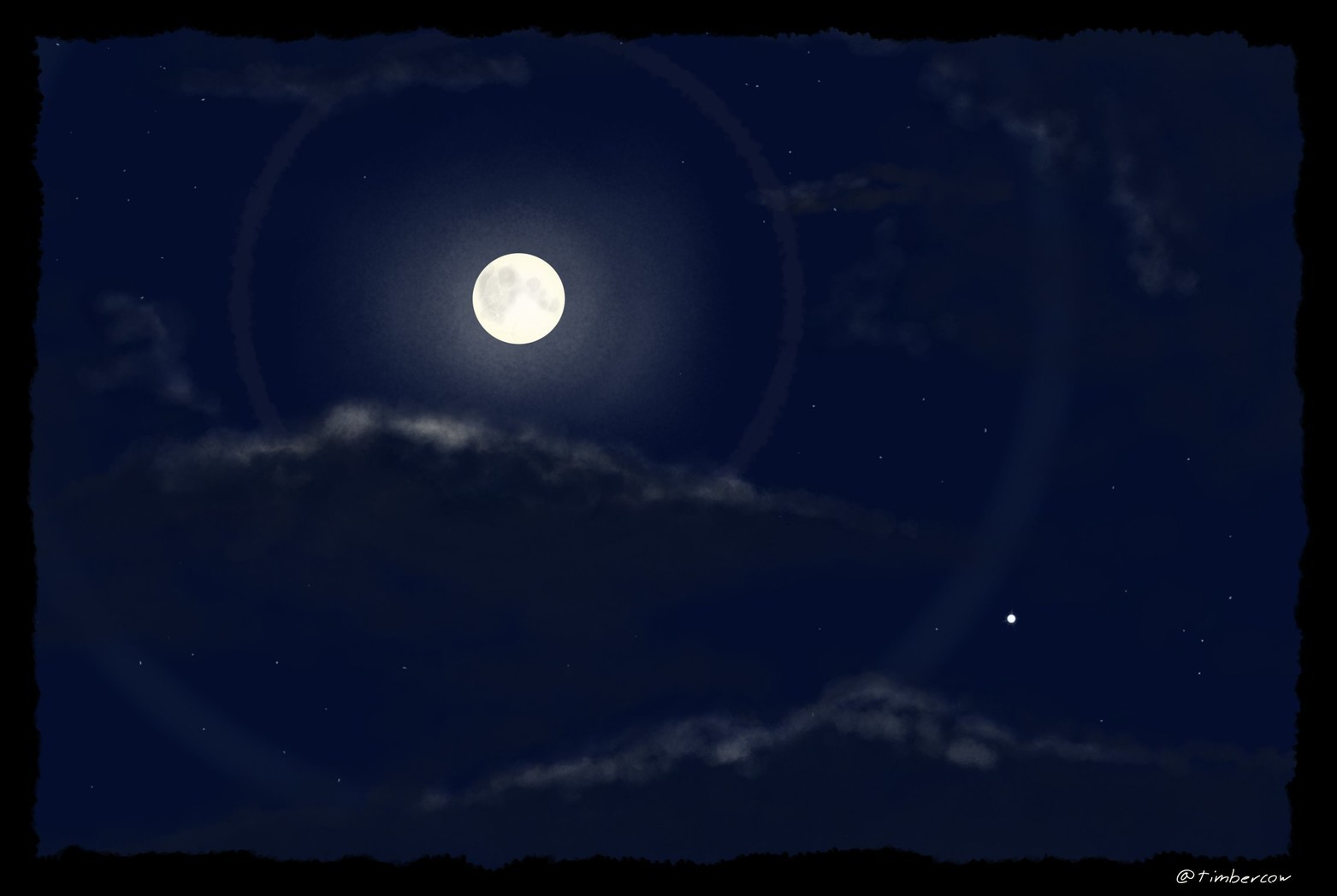 A digital painting of a night sky in winter. The moon and Venus are visible. The moon has a double halo. It's a partly cloudy night. The dark clouds are are highlighted slightly by pale yellow moonlight.