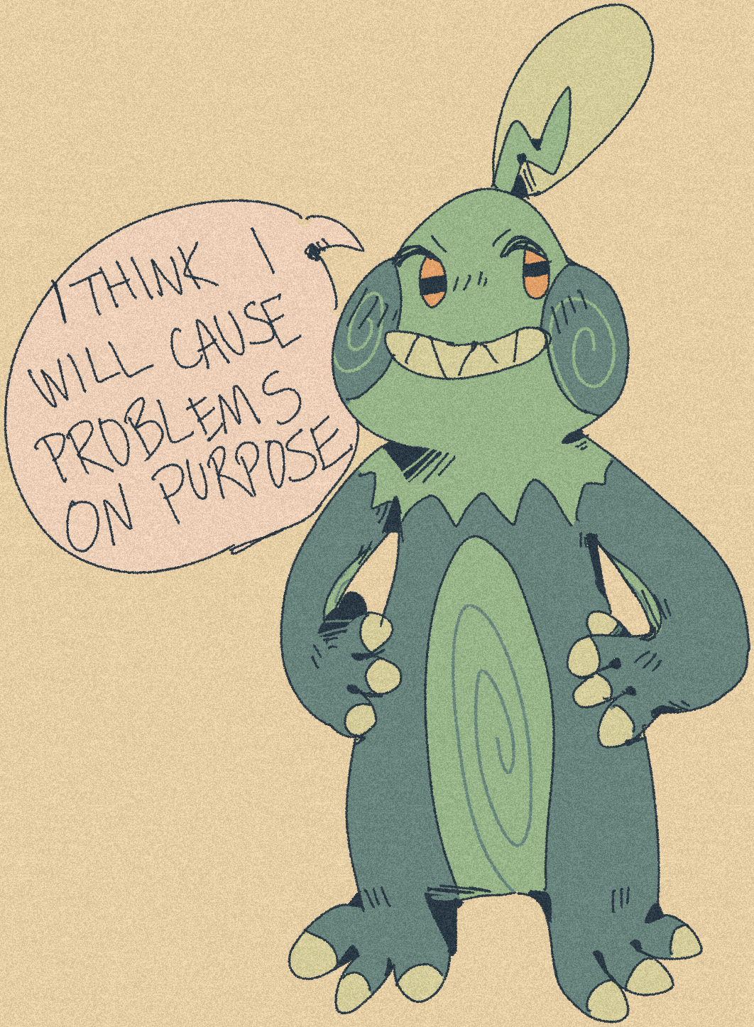 """drawing of the sparzy from the previous post (named wibbles) saying """"i think i will cause problems on purpose"""""""
